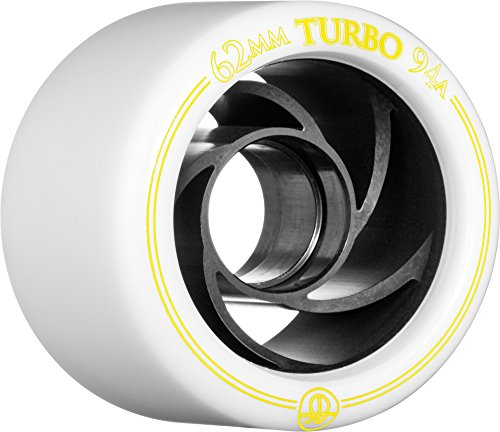 Rollerbones Turbo 94A Speed/Derby Wheels with an Aluminum Hub (Set of 8), 62mm, White