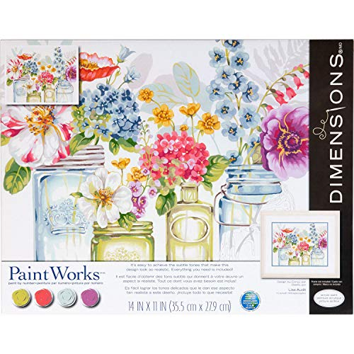 Dimensions , Rainbow Flowers, PaintWorks Paint by Numbers Kit for Adults and Kids, 14'' x 11'