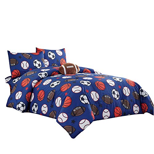 WPM Kids Collection Bedding 4 Piece Blue Twin Size Comforter Set with Sheet Pillow sham and Football Toy Soccer Baseball Basketball Fun Sports Design (Football, Twin Comforter)