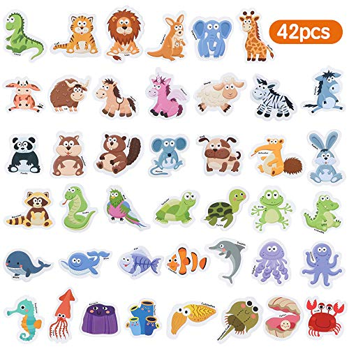 Baob� Fridge Magnets for Toddlers 42 PCS Foam Magnets for Kids Early Learning Educational Toy for 3 Year Old Boys Girls (Animals)