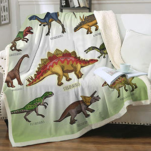 "Sleepwish Dinosaur Fleece Blanket Cute Ancient Animal Sherpa Blankets Super Soft Fleece Throw Blanket for Bed Couch Sofa (60"" x 80"")"