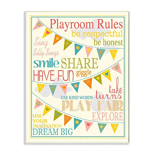 Stupell Home D�cor Playroom Rules With Pennants In Pink Rectangle Wall Plaque, 10.25 x 0.5 x 14.75, Proudly Made in USA