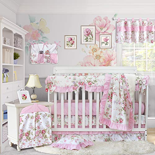 Brandream Baby Girls Crib Bedding Sets with Crib Rail Cover Ruffled Crib Skirt 100% Cotton Crib Fitted Sheet Floral Nursery Baby Girls Bedding Set Pink, 9pieces