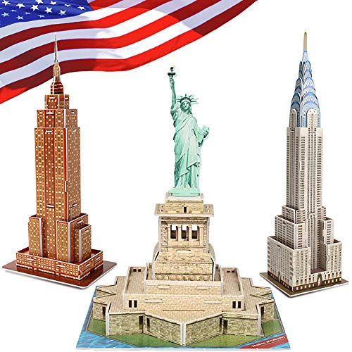 CubicFun 3D Puzzle for Kids New York Cityline Landmark Architecture Building Model Kits for Adults, Puzzles for Kids Ages 8-10, Statue of Liberty, Empire State Building, Chrysler Building,