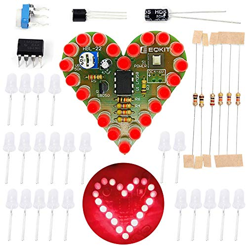 Icstation Electronics Kits DIY Solder Kit Heart Shaped Led Light Soldering Practice (Red, 1pc)