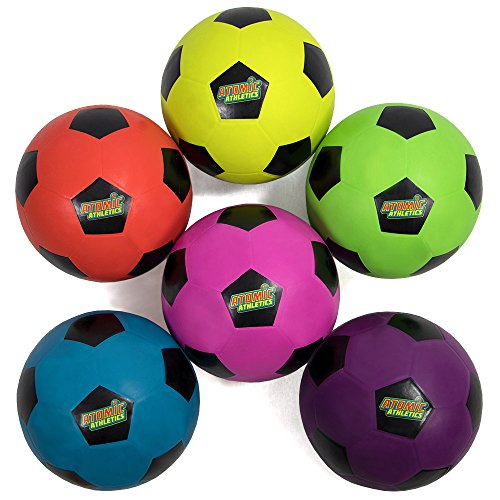 Atomic Athletics 6-Pack of Neon Rubber Playground Soccer Balls – Bulk Set of Youth Size 4, 8