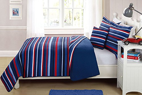 Elegant Home Decor Multicolor Light & Dark Blue Red White Striped Design Fun Colorful Quilt Bedspread Bedding Set with Decorative Pillow for Kids/Boys # Ocean (Full Size)