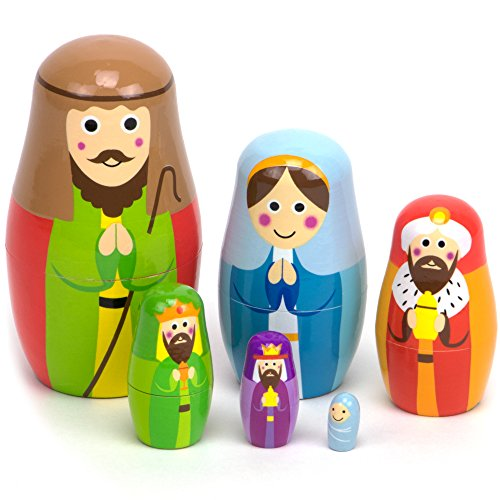 Nesting Nativity Wooden Christmas Holiday Nesting Doll Set with 6 Dolls – Small, Cute Indoor Nativity Manager Scene Doll Set for Home Display, Tables, Mantle, Party Decor & Holiday Decorations