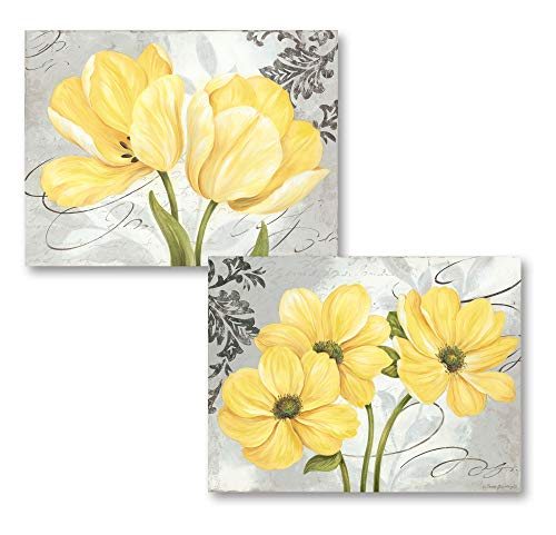 Beautiful Grey & Yellow Blooming Flower Prints; Two 16x12 Unframed Paper Posters