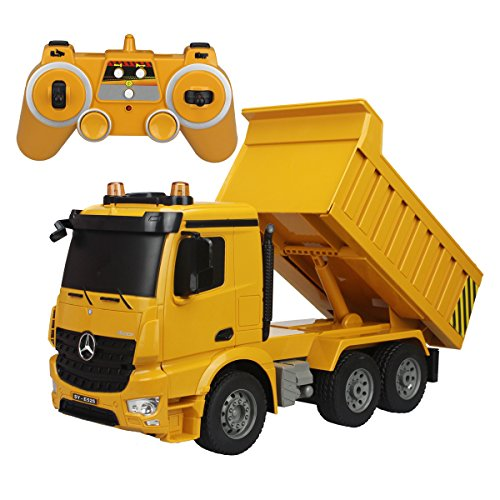 fisca Remote Control Truck, 1/20 Scale 6 Channel 2.4Ghz RC Dump Truck Construction Vehicle Toy with LED Lights and Simulation Sound for Kids