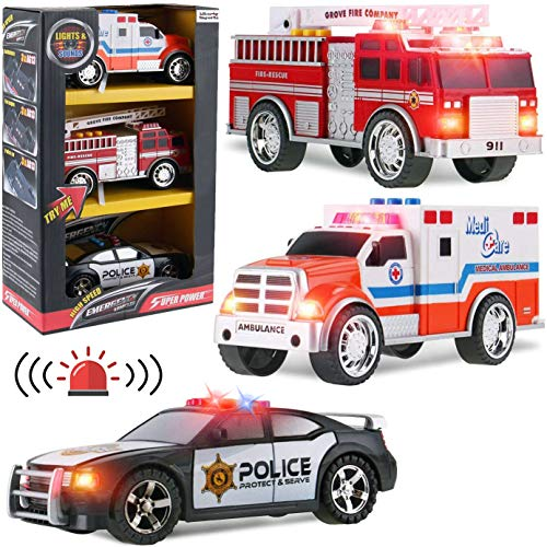 Liberty Imports 3-in-1 True Hero Emergency Rescue Vehicles Kids Toy Cars Playset - Ambulance, Fire Truck and Police Car with 3-Button LED Light and Sound Effects