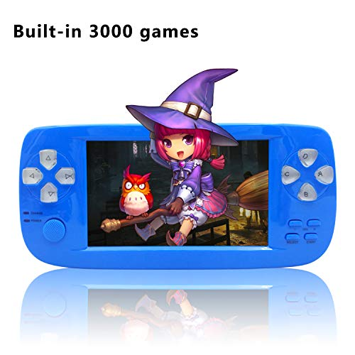 BAORUITENG Handheld Game Console, Portable Video Game Console 4.3 Inch 3000 Classic Retro Game Console Pap-KIII , Support GBA / GBC / GB / SEGA / NES / SFC / NEOGEO (Blue)