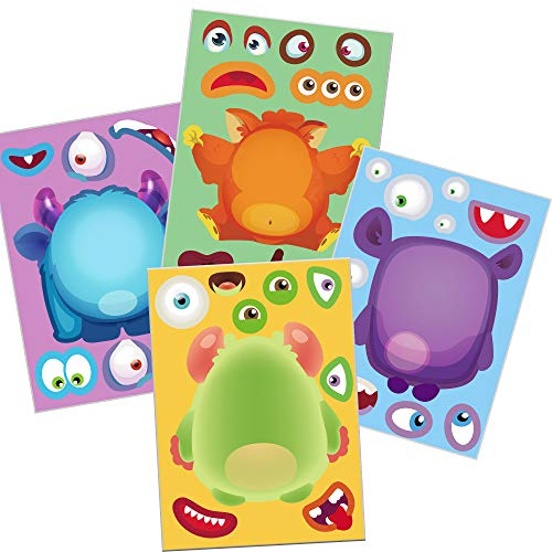 Happy Storm 24 Make A Monster Stickers Halloween Party Games for Kids Halloween Activities for Monster Themed Birthday Party Supplies Make A Monster Face Stickers Favors Decorations