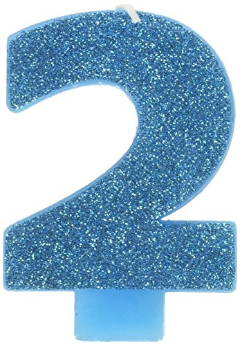 #2 Glitter Birthday Candle | Caribbean Blue | Party Supply
