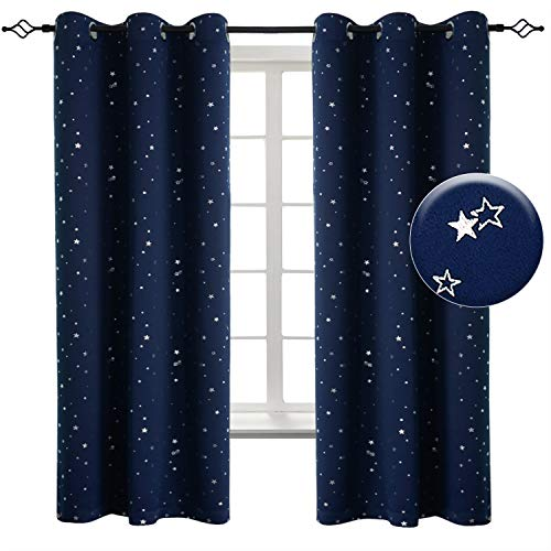 BGment Kids Blackout Curtains for Bedroom - Grommet Thermal Insulated Silver Star Print Room Darkening Curtains for Living Room, Set of 2 Panels (38 x 45 Inch, Navy Blue)