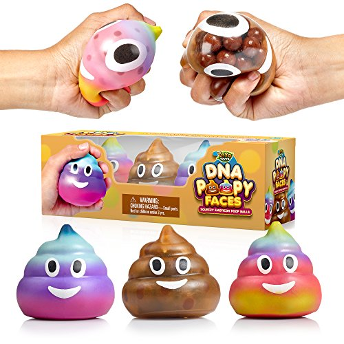 YoYa Toys Poop Emoji DNA Stress Ball 3-Pack - Squeezing, Anxiety Relief Ball for Kids and Adults - Squishy Toys for Autism, Fidgeting, ADHD, Quitting Bad Habits and More - Sensory Rubber Ball