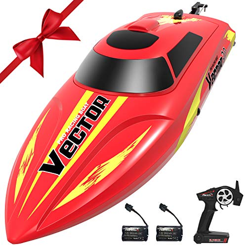 VOLANTEXRC Vector30 Remote Control Boat for Pools and Lakes, High Speed Electric RC Boat for Kids or Adults, with Self-righting, Reverse Function for Boys or Girls (795-3 Red)