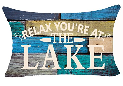 Andreannie Retro Vintage Wood Grain Background Funny Warm Sayings Relax You're at The Lake Cotton Linen Throw Lumbar Waist Pillow Case Cushion Cover Home Office Decorative Rectangle 12 X 20 Inches