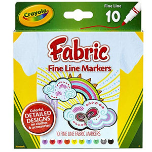 Crayola Fabric Markers, At Home Crafts for Kids, Fine Tip, Assorted Colors, Set of 10