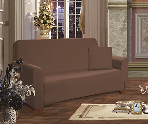 Elegance Linen Collection Luxury Soft Furniture Jersey Stretch SLIPCOVER, Sofa Chocolate