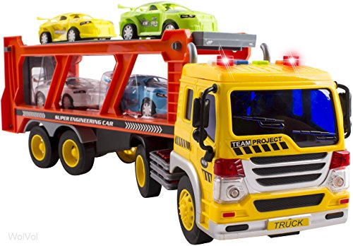 WolVol Friction Powered Transport Car Carrier Truck Toy for Boys and Girls, Lights and Sounds & Ramp (includes 4 plastic cars) - Batteries included