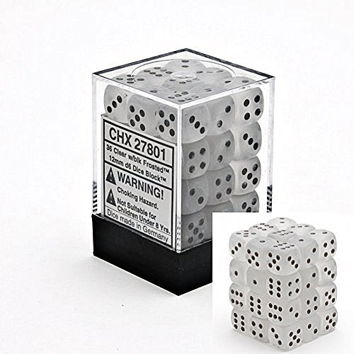 Chessex Dice D6 Sets: Frosted - 12Mm Six Sided Die (36) Block of Dice, Clear/Black