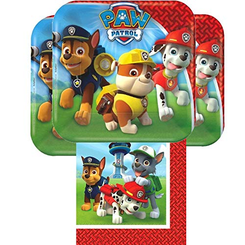 Paw Patrol Plates and Napkins for 16 - 16 Paw Patrol Dessert Plates (7 Inch) and 16 Paw Patrol Napkins (6 Inch)