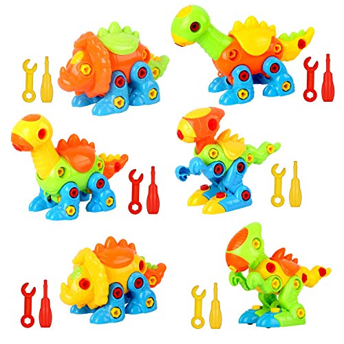 Dinosaur Toys Take Apart Toys with Tools (226 Pieces) - Pack of 6 Dinosaurs with 12 Tools, Construction Engineering Building Play Set for Boys Girls Toddlers, STEM Learning Kit for Kids Age 3-12 Years