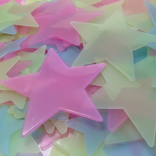 Rayliad 150 Large Bright Multi-Color Plastic Glow in The Dark Stars for Ceiling - 1.5, 2.5, Huge 3.5 Inch - Green, Blue, Pink Star Sticker Kids Bedroom Decorations - Adhesive Included