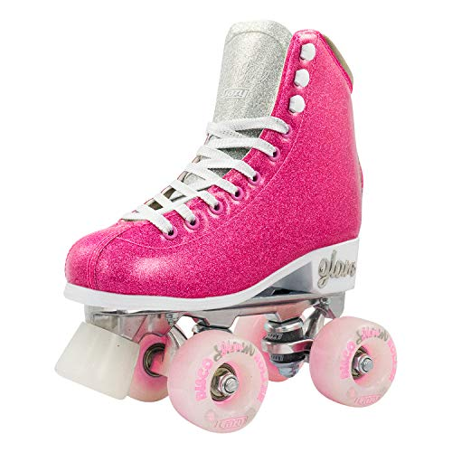 Crazy Skates Glam Roller Skates for Women and Girls - Dazzling Glitter Sparkle Quad Skates - Pink with Silver (Size 1)