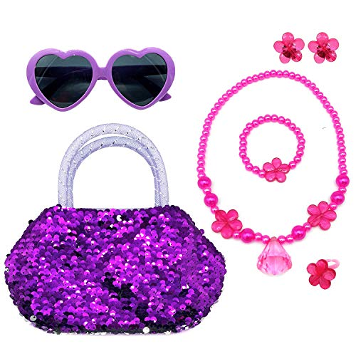Elesa Miracle Kids Little Girl Toy Playset Sequins Handbag + Heart Sunglasses + Necklace Bracelet and Clip on Earrings Value Set, Purple