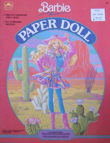 Barbie Western Fun Paper Doll Book w Press Out Doll, Portrait & Tote (1990 Golden)