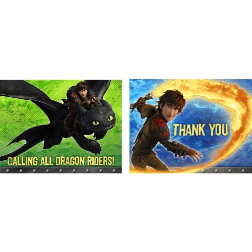 Hallmark How to Train Your Dragon Invitation & Thank You (8 Pack)