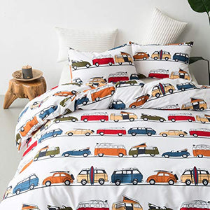 Leadtimes Car King Duvet Cover Set 3PC Cartoon Duvet Cover Lightweight Soft Comforter Cover Set with Car Design (Car, King)