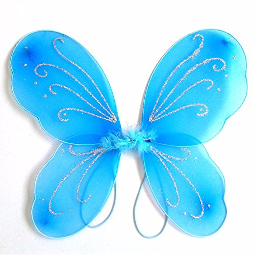 Dushi Girls Butterfly Craze Fairy Wings for Fairy Costumes Sparkle Fairy Princess Wings Party Favor Blue …
