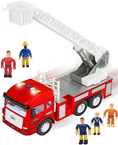 FUNERICA Toy Fire Truck with Lights and Sounds - 4 Sirens - Extending Ladder - Powerful Friction Rolling - Firetruck Fire Engine for Toddlers & Kids