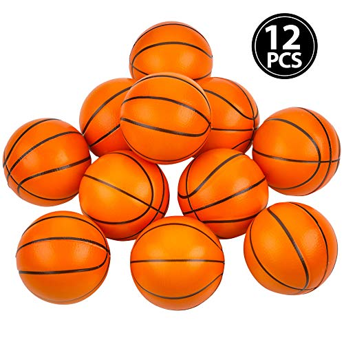 Mini Basketball Stress Balls - (Pack of 12) 2.5 Inch Small Foam Basketballs for Kids, Sports Theme Party Favor Toys Birthday Party Game and Anxiety, Stress Relief Squeeze Balls, Stocking Stuffers by Bedwina