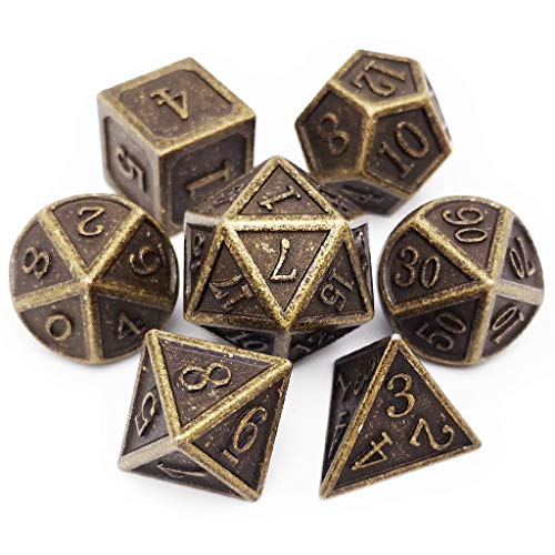 Haxtec D&D Metal Dice Set 7PCS DND Dice of D20 D12 D10 D8 D6 D4 for Dungeons and Dragons RPG Dice Games-Antique Bronze Dice