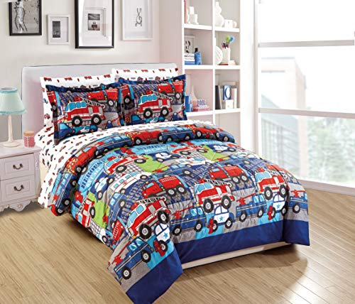 Fancy Linen Boys Comforter Set Police Car Fire Truck Ambulance Heroes Blue Red Green Grey White New # Heroes (Twin Comforter)
