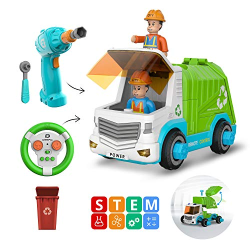 DEERC Remote Control Take Apart Toys Cars for Kids with Electric Drill, 2.4GHz RC Cars Construction Toy STEM Build Your Own Dump Truck, Music