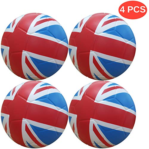 Macro Giant 6 Inch Foam Flag Soccer, Set of 4, UK, Kickball, Playground Ball, Beginner