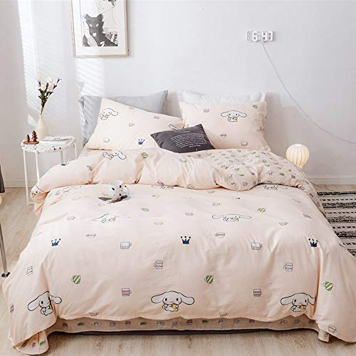 BHUSB Cute Cinnamoroll Print Kids Girls Bedding Duvet Cover Set Twin Soft Cotton Reversible Animal Dogs Pink Teens Boys Bedding Sets Twin 3 PC Single Bed Comforter Covers with Zipper Closure