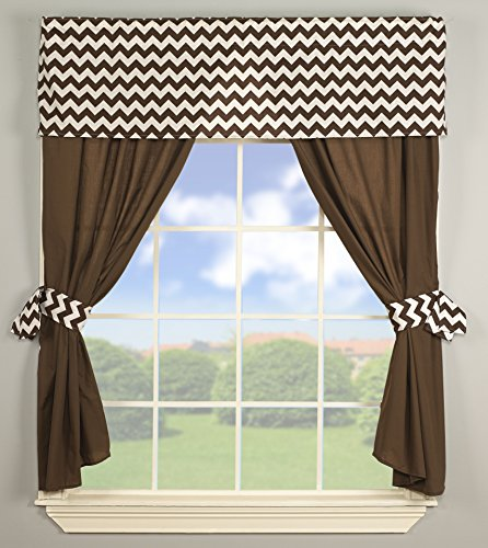 Baby Doll Bedding Chevron Window Valance and Curtain Set, Brown