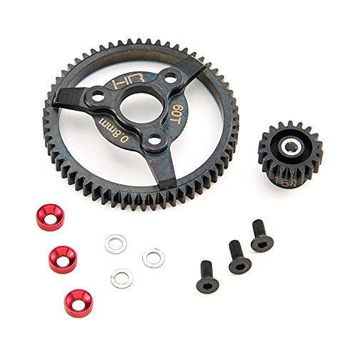 Hot Racing STE260 Steel Pinion and Spur Gear Set (18t/60t 32p)(Red) - Traxxas