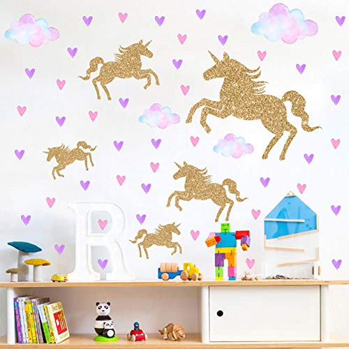 Watercolour Unicorn Wall Stickers Kids Wall Decals Peel and Stick Removable Wall Decor for Kids Nursery Bedroom Living Room(Cloud Unicorn)