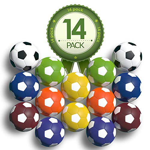 Colonel Pickles Novelties Foosball Table Replacement Foosballs- 14 Pack - 36mm Game Tabletop Size - Multi Colored Tabletop Soccer Balls