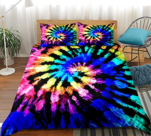 Blue Tie Dyed Bedding Tie Dyed Duvet Cover Set Blue Yellow Spiral Psychedelic Swirl Printed Design Boho Hippie Bedding Sets Twin (66x90) 1 Duvet Cover 1 Pillowcase (Twin, Blue)