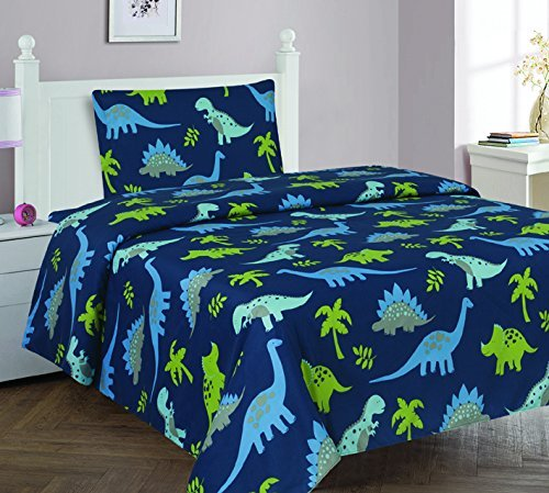 Elegant Home Dinosaurs Jurassic Park Design Multicolor Dark Blue Green Sheet Set with Pillowcase Flat Fitted Sheet for Boys/Kids/Teens # Dinosaurs Blue 2 (Twin)