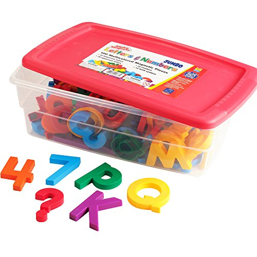 Educational Insights Multicolored Jumbo AlphaMagnets & MathMagnets, Ages 4 and up, (100 Pieces)