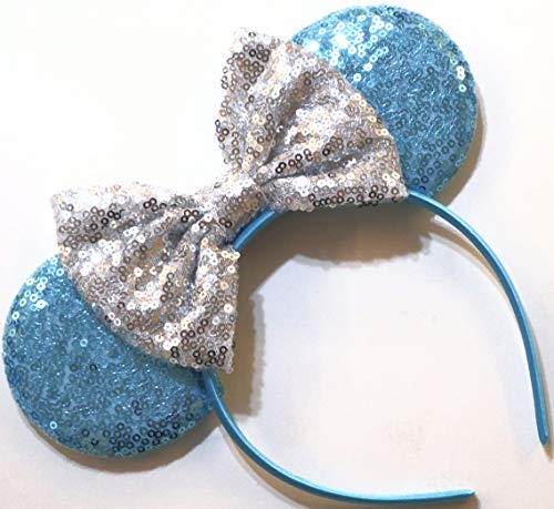 CLGIFT Cinderella Inspired Minnie Mouse Ears, Blue Mickey Mouse Ears, Princess Ears, Cinderella Minnie Ears, Rainbow Sparkle Mouse Ears,Classic Red Sequin Minnie Ears (Cinderella)